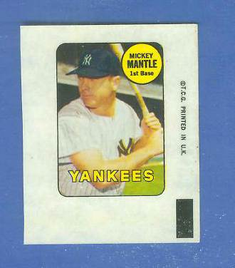 1969 Topps DECALS #23 Mickey Mantle [#b] (Yankees) Baseball cards value