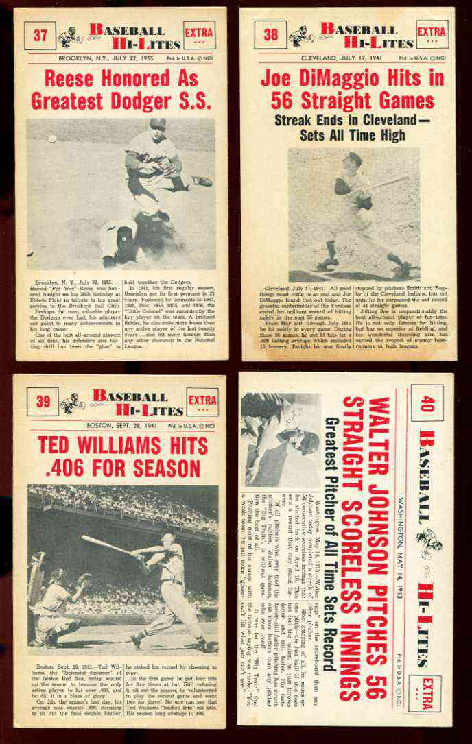 1960 Nu-Card Hi-Lites #39 Ted Williams - 'Hits .406 For Season' [#x] Baseball cards value