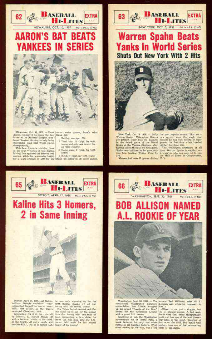 1960 Nu-Card Hi-Lites #62 Hank Aaron - 'Bat Beats Yankees in Series' [#x] Baseball cards value