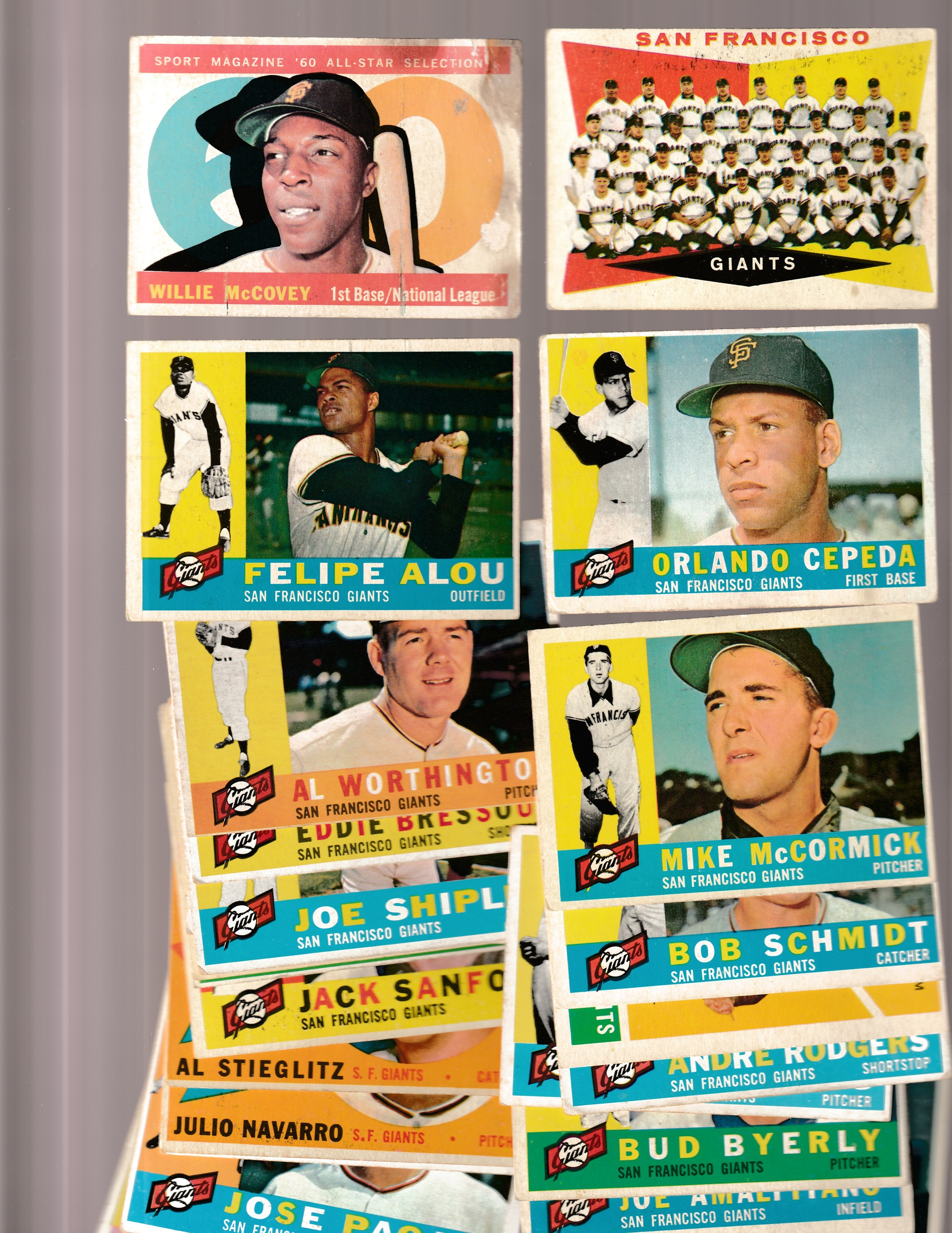 1960 Topps  - GIANTS Starter Team Set/Lot (15 cards) Baseball cards value