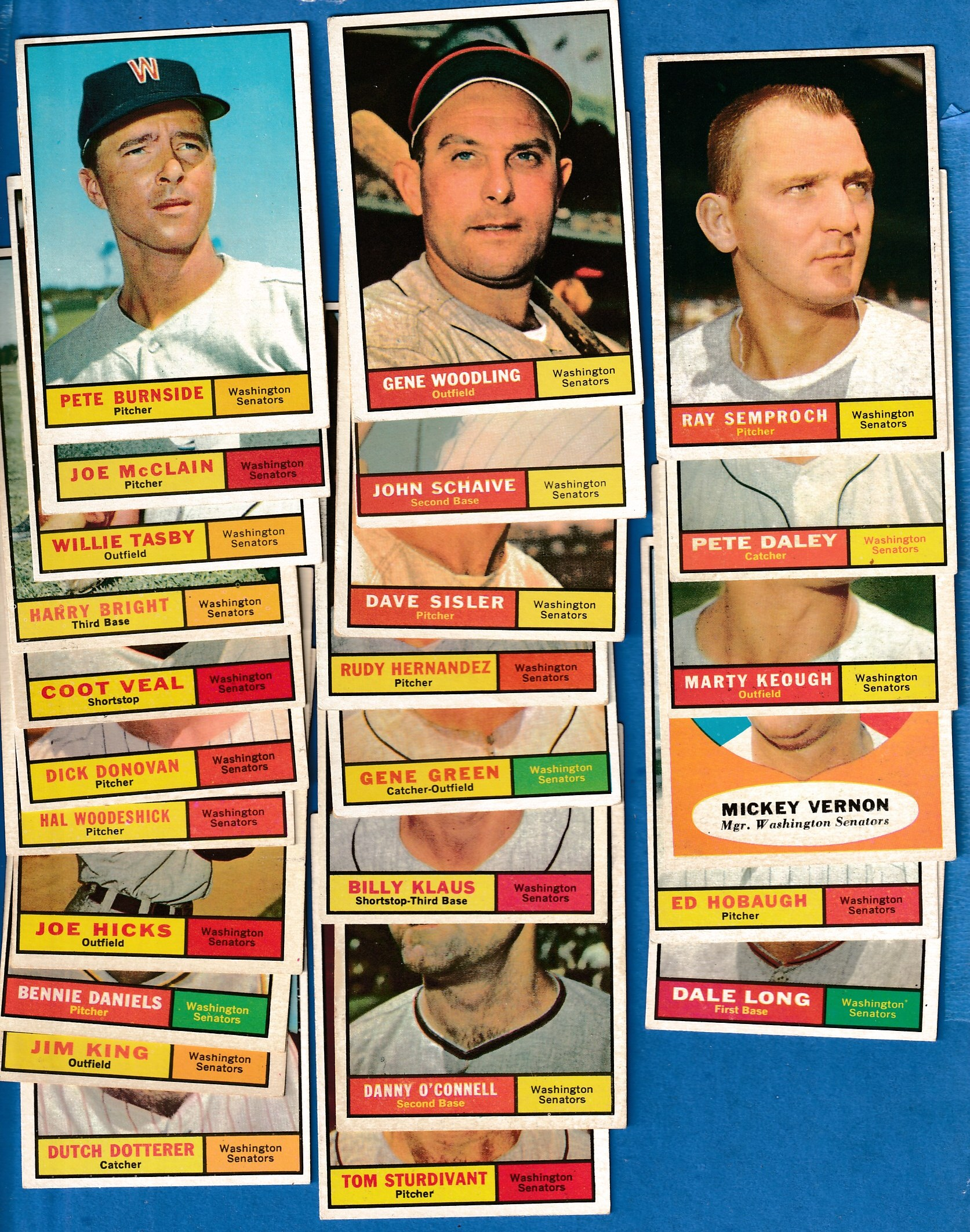 1961 Topps  - SENATORS - COMPLETE LOW# TEAM SET (25 cards) Baseball cards value