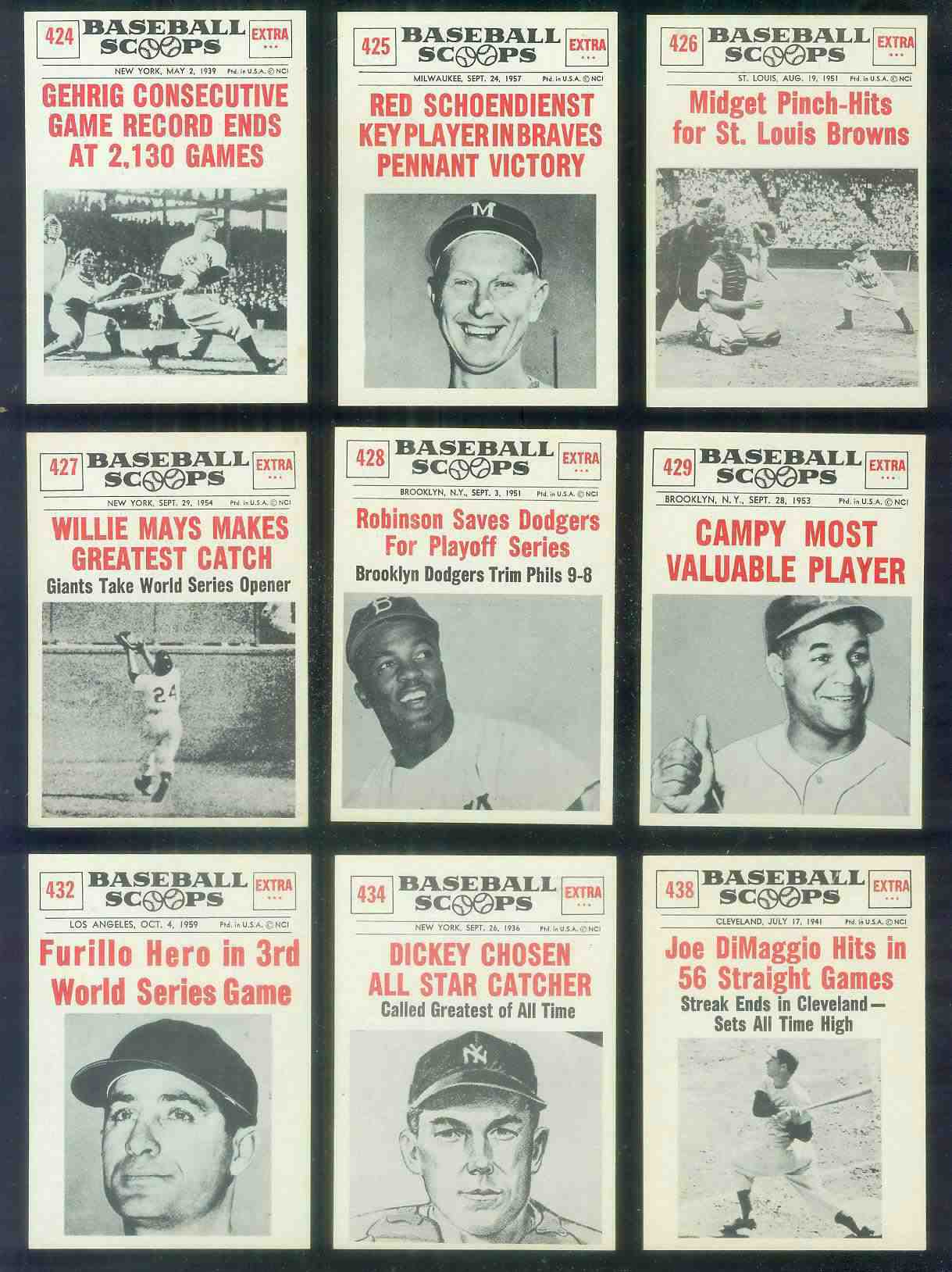 1961 Nu Card Scoops Baseball Cards Set Checklist Prices