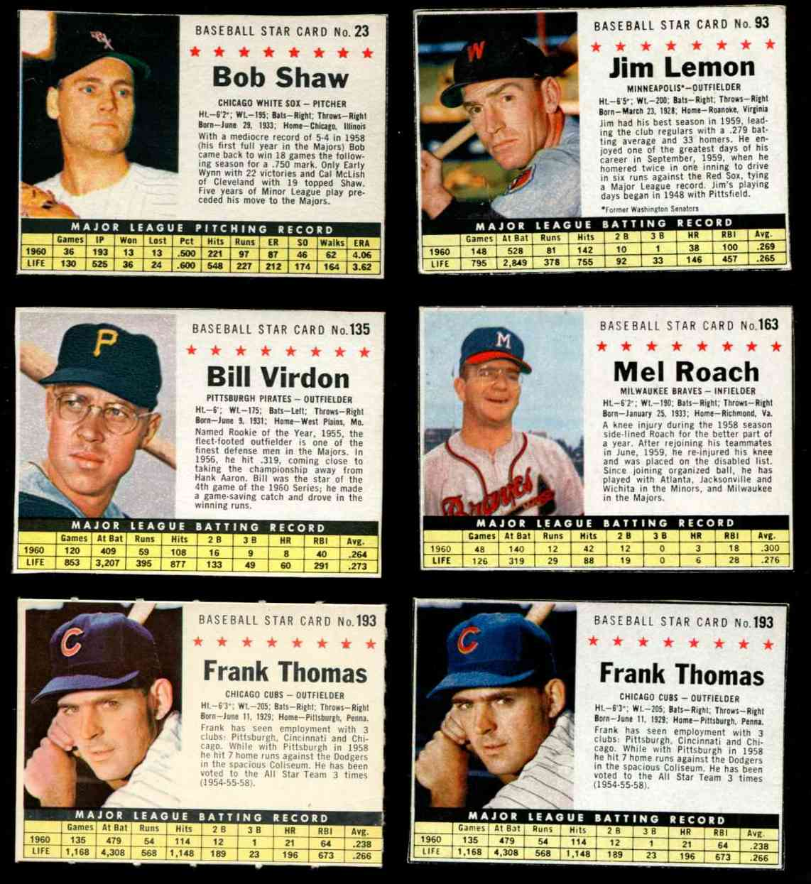 1961 Post #.93 Jim Lemon [BOX Minneapolis variation] (Twins) Baseball cards value