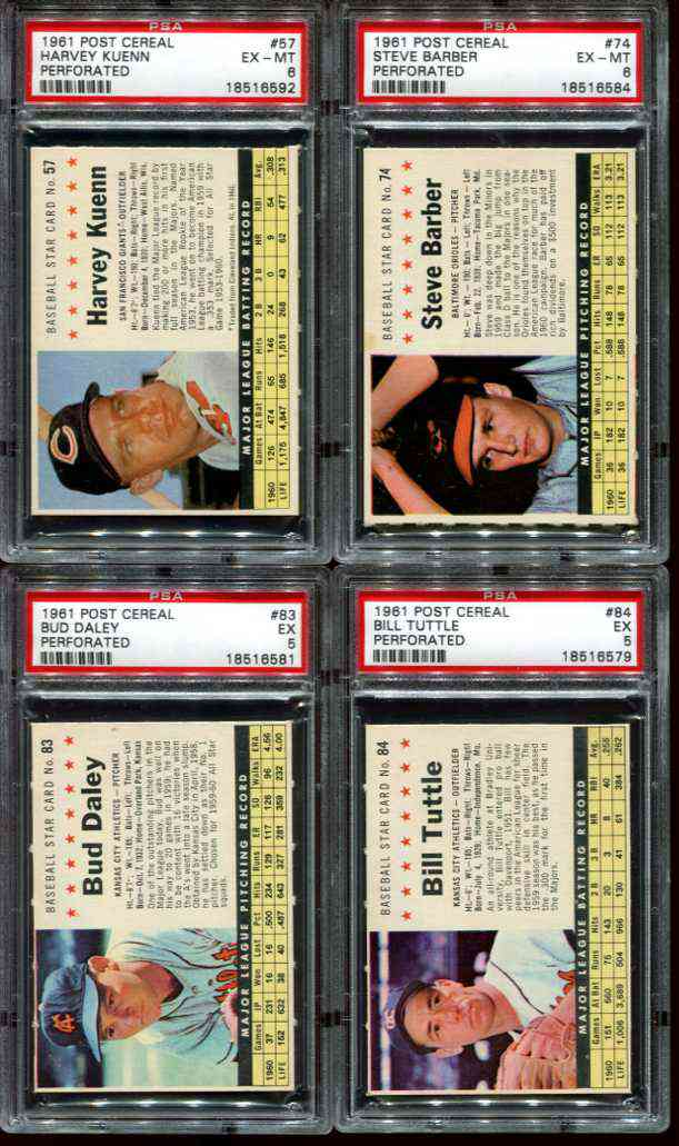 1961 Post #.57 Harvey Kuenn [COM] [#x] (Giants) Baseball cards value