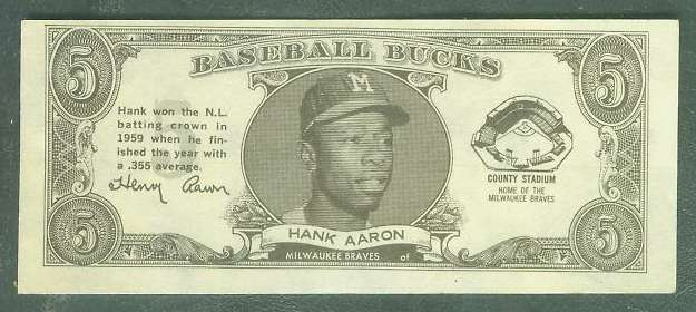 1962 Topps Bucks #.1 Hank Aaron [#c] (Braves) Baseball cards value