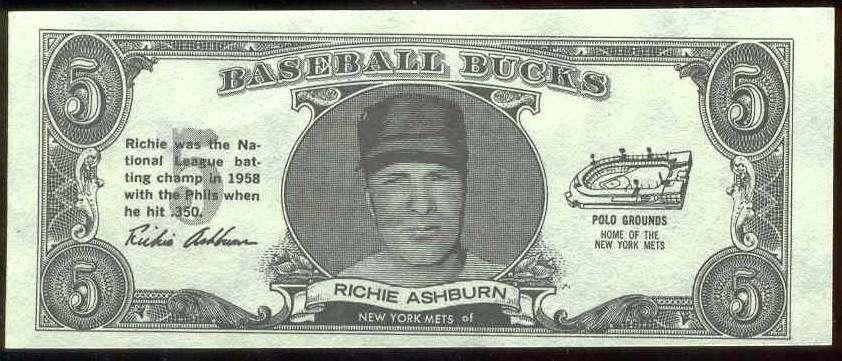 1962 Topps Bucks #.5 Richie Ashburn (Mets) Baseball cards value