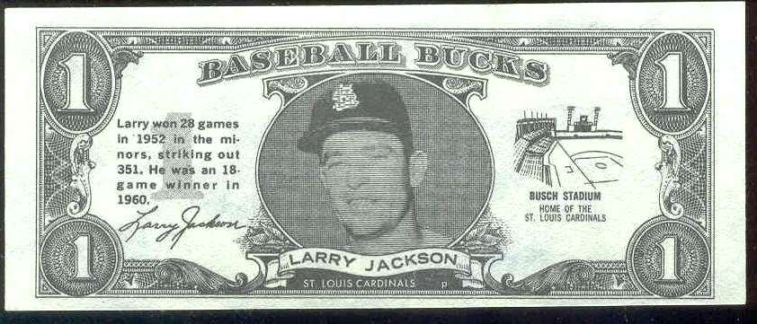 1962 Topps Bucks #41 Larry Jackson (Cardinals) Baseball cards value