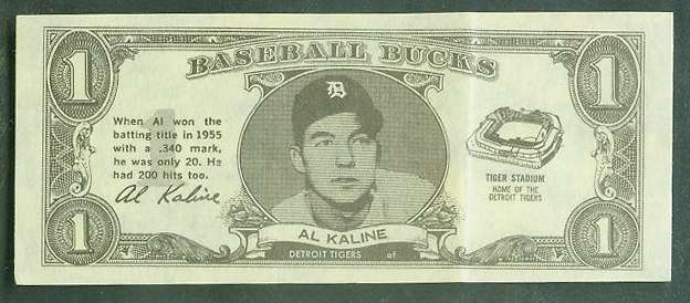 1962 Topps Bucks #43 Al Kaline [#a] (Tigers) Baseball cards value