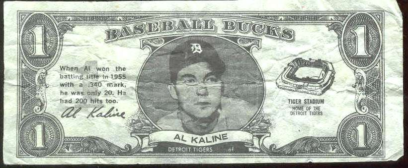 1962 Topps Bucks #43 Al Kaline [#c] (Tigers) Baseball cards value