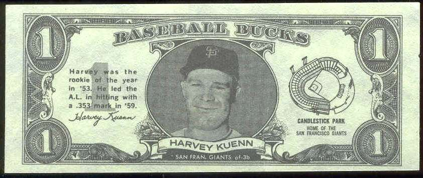 1962 Topps Bucks #46 Harvey Kuenn (Giants) Baseball cards value