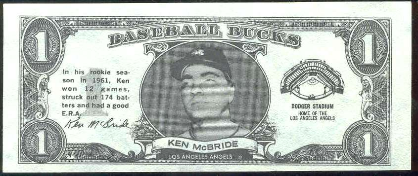 1962 Topps Bucks #58 Ken McBride (Angels) Baseball cards value