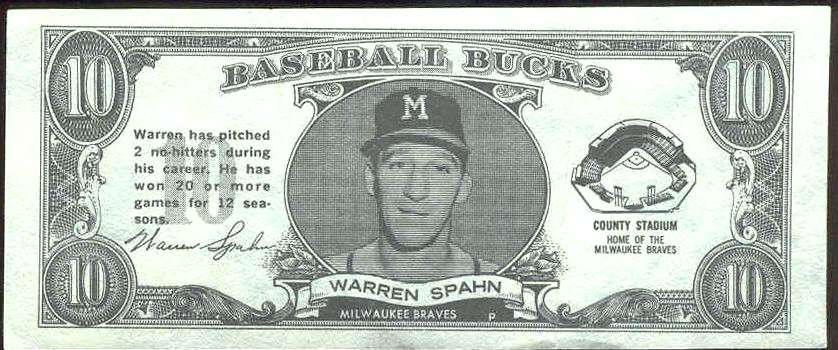 1962 Topps Bucks #85 Warren Spahn [#b] (Braves) Baseball cards value