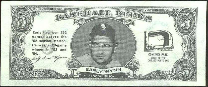 1962 Topps Bucks #95 Early Wynn (White Sox) Baseball cards value