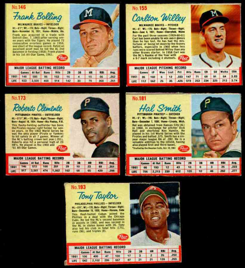 1962 Post #173A Roberto Clemente [#x] (Pirates) Baseball cards value