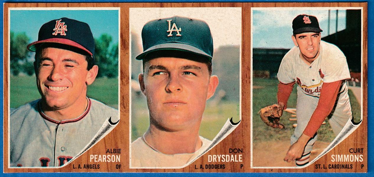 1962 Topps  3-Card PANEL -  DON DRYSDALE (NM/MINT) center !!! (Dodgers) Baseball cards value