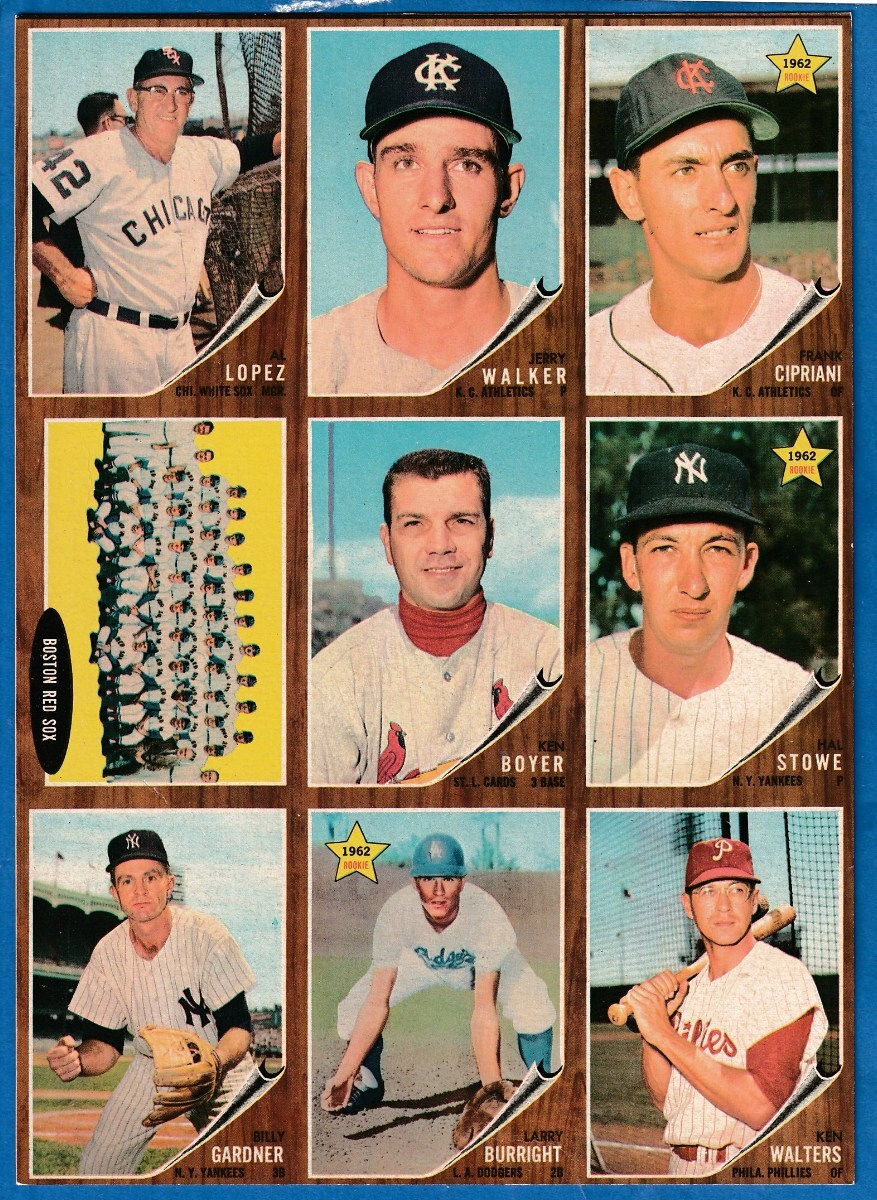 1962 Topps  9-Card PANEL - w/Ken Boyer in Center (Cardinals) Baseball cards value