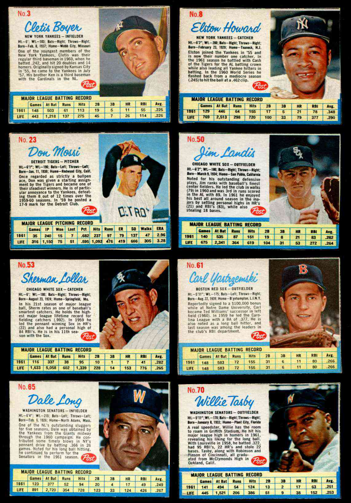 1962 Post Cereal Baseball Cards Set Checklist Prices Values