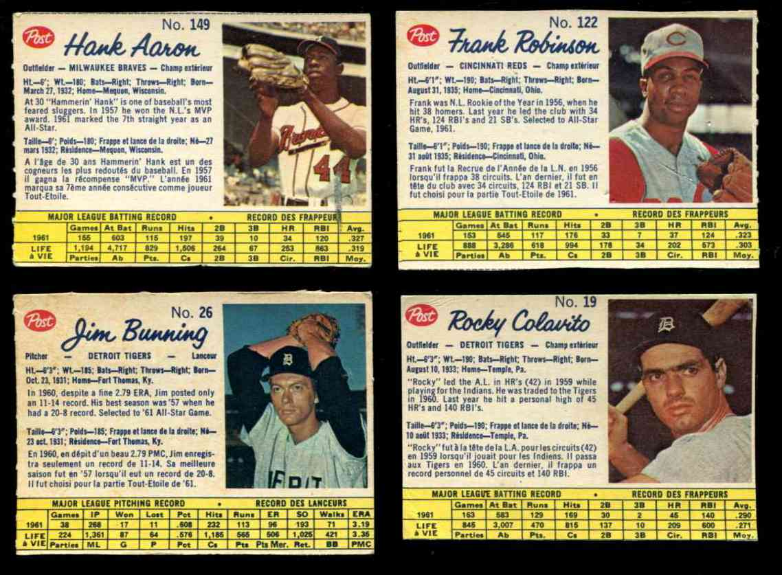 1962 Post Canadian #149 Hank Aaron [#x] (Braves) Baseball cards value