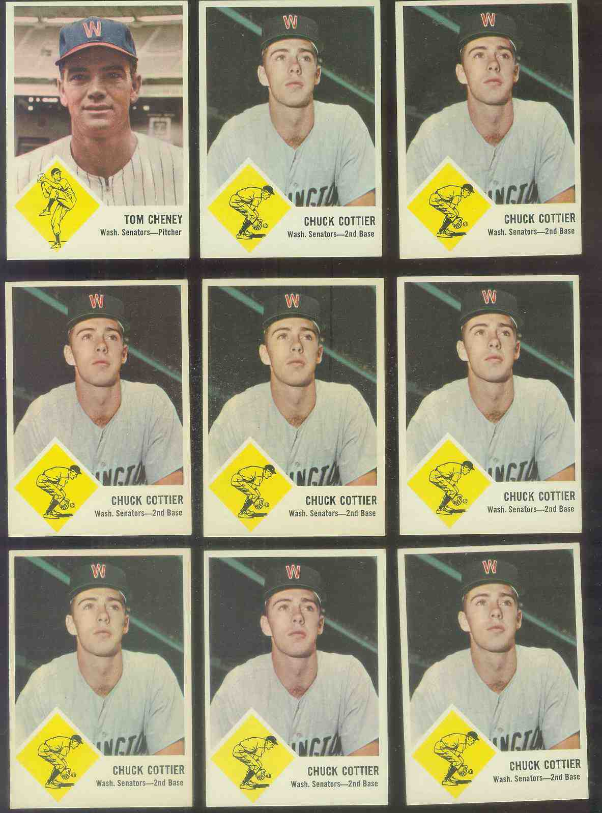 1963 Fleer #28 Chuck Cottier (Senators) Baseball cards value