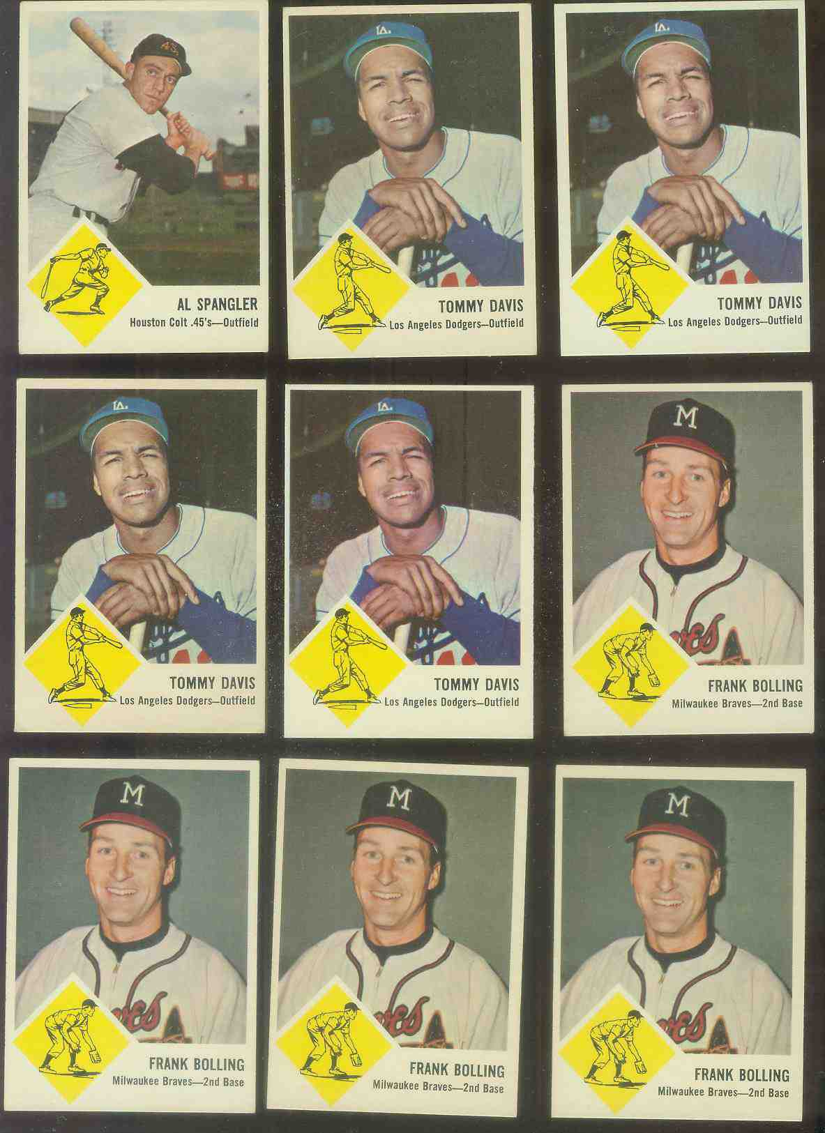 1963 Fleer #44 Frank Bolling (Braves) Baseball cards value