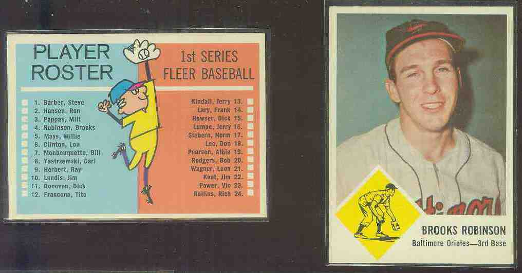 1963 Fleer #.4 Brooks Robinson (Orioles) Baseball cards value