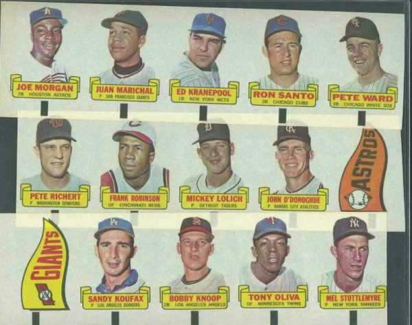 1966 Topps RUB-OFFS - UNCUT MASTER STRIP of 20 Rub-Offs w/SANDY KOUFAX !!! Baseball cards value