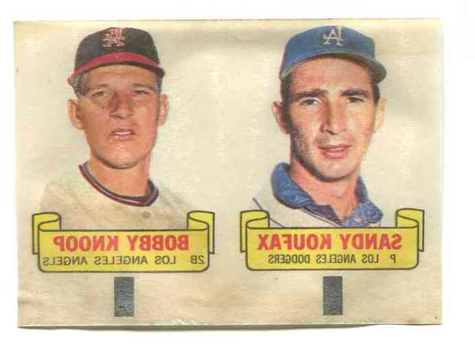 1966 Topps RUB-OFFS  - PANEL-OF-2 with SANDY KOUFAX & Bobby Knoop Baseball cards value