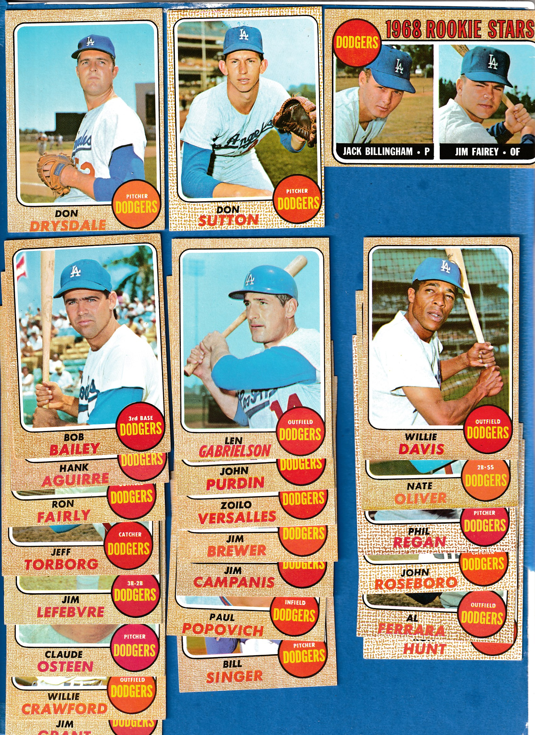 1968 Topps  - DODGERS Near COMPLETE TEAM SET (26/27) Baseball cards value