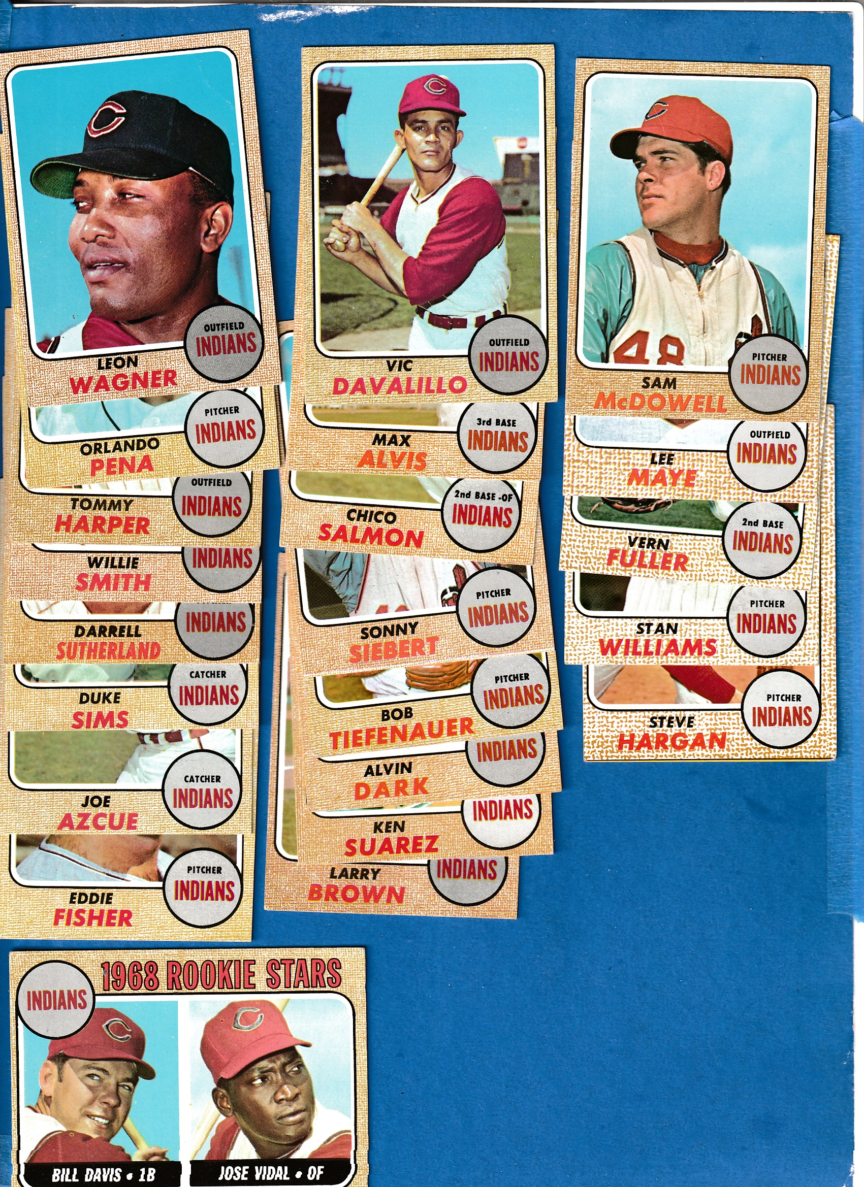 1968 Topps  - INDIANS Near Complete TEAM Set/Lot (21/25) Baseball cards value