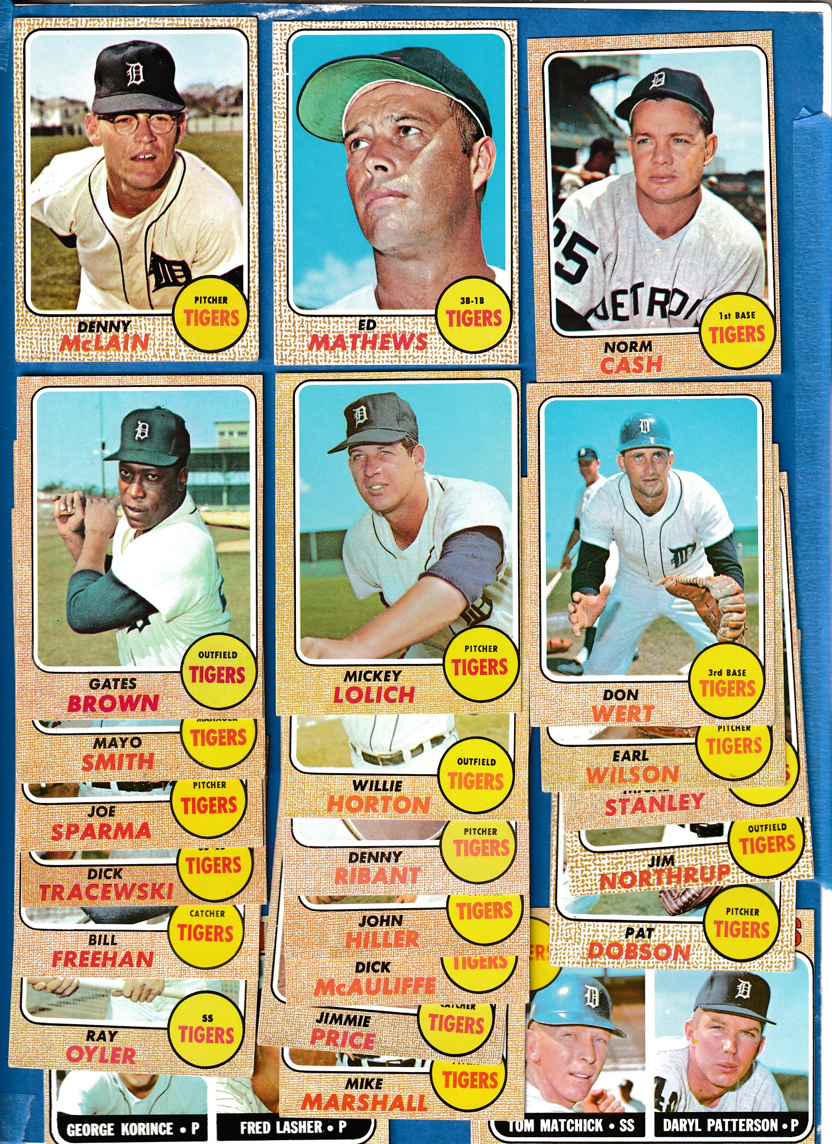 1968 Topps  - TIGERS Near Complete TEAM SET/Lot (24/25) Baseball cards value