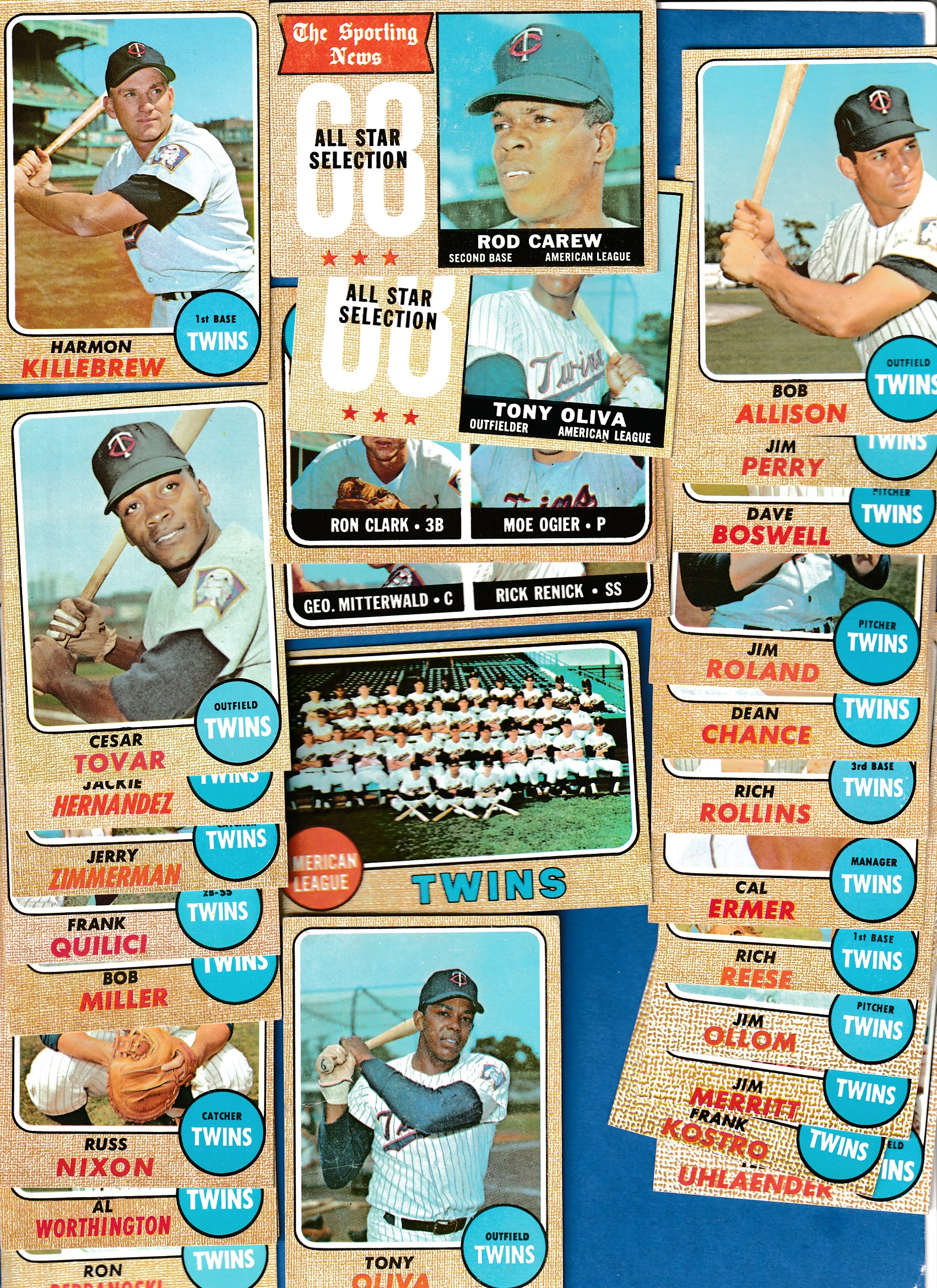 1968 Topps  - TWINS Near Complete TEAM SET/Lot (23/27 + 2 cards) Baseball cards value