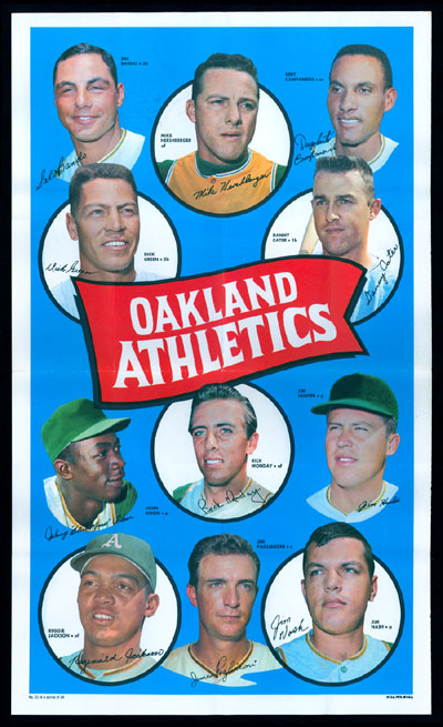 1969 Topps TEAM POSTERS #21 Oakland A's Baseball cards value
