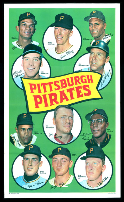 1969 Topps TEAM POSTERS #16 Pittsburgh Pirates Baseball cards value