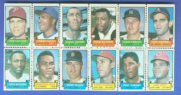 1969 Topps STAMP PANEL [h]- John Callison, FERGIE JENKINS, TONY PEREZ Baseball cards value