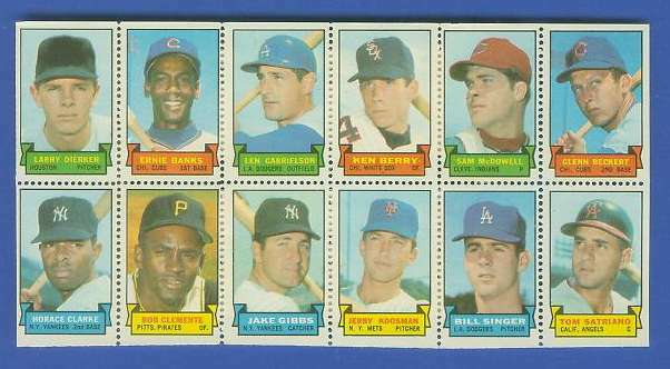 1969 Topps STAMP PANEL [h]- Larry Dierker, ERNIE BANKS, ROBERTO CLEMENTE Baseball cards value