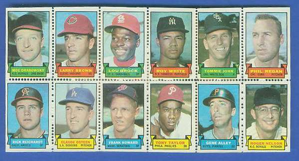 1969 Topps STAMP PANEL [h]- Moe Drabowsky, LOU BROCK, Frank Howard Baseball cards value