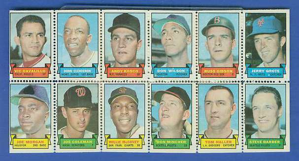 1969 Topps STAMP PANEL [h]- Vic Davalillo, WILLE McCOVEY, JOE MORGAN Baseball cards value
