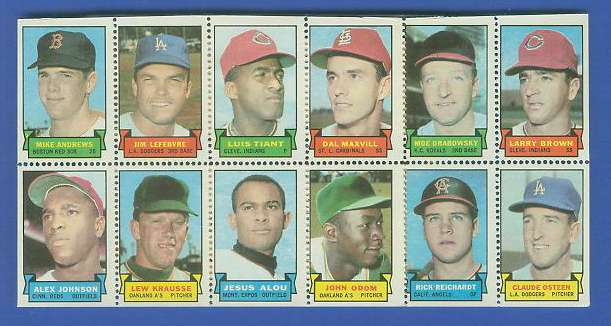 1969 Topps STAMP PANEL [h]- Mike Andrews, Luis Tiant, Claude Osteen Baseball cards value