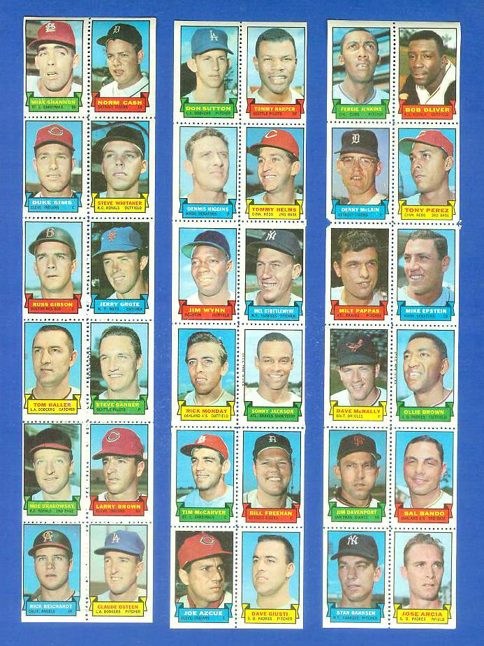 1969 Topps STAMP STRIP [v]- FERGIE JENKINS,TONY PEREZ,Denny McLain Baseball cards value