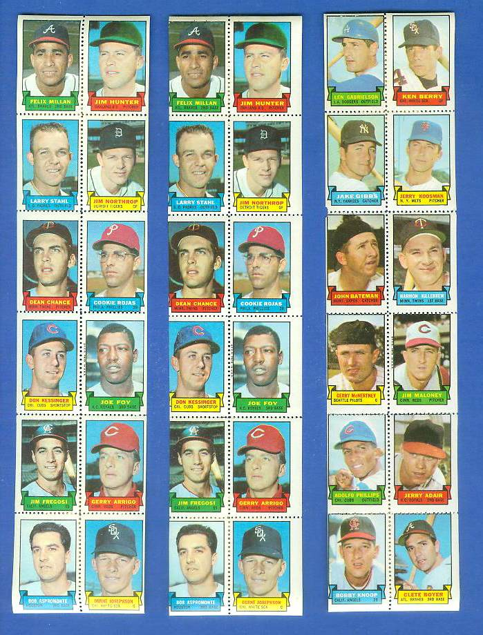 1969 Topps STAMP STRIP [v]- Felix Millan,JIM 'CATFISH' HUNTER,Jim Fregosi Baseball cards value