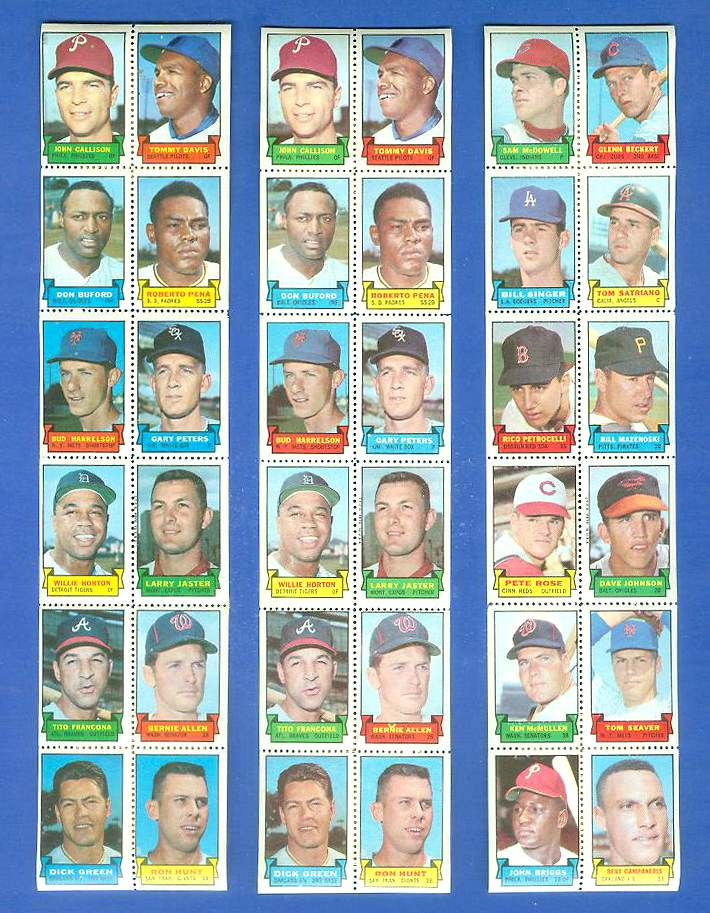 1969 Topps STAMP STRIP [v]- Johnny Callison,Tommy Davis,Willie Horton Baseball cards value