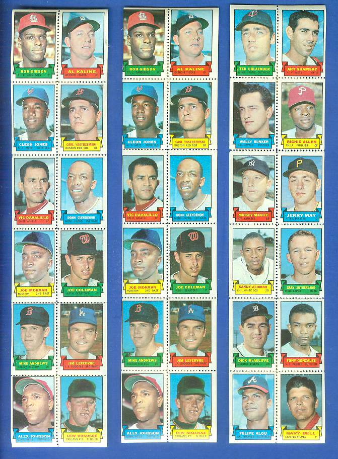 1969 Topps STAMP STRIP [v]- Ted Uhlander,MICKEY MANTLE,Richie Allen Baseball cards value