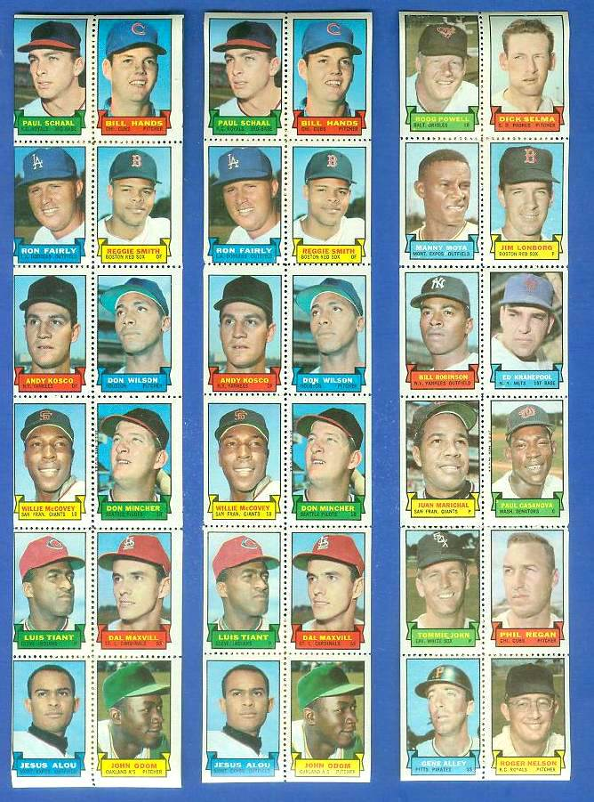 1969 Topps STAMP STRIP [v]- Boog Powell,JUAN MARICHAL,Tommie John Baseball cards value