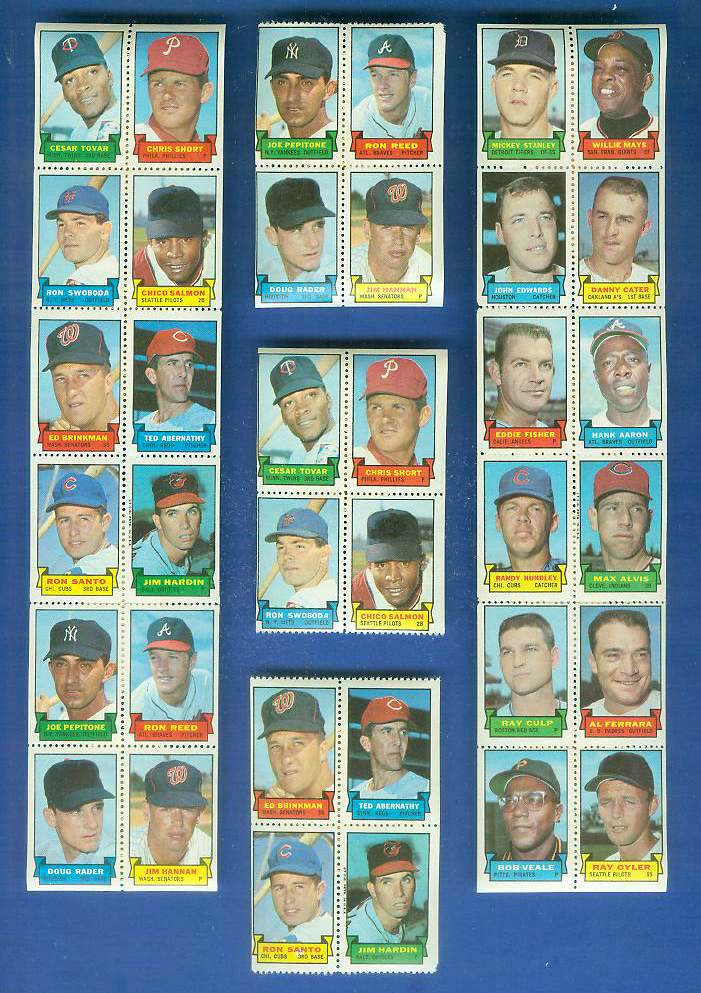1969 Topps STAMP PANEL of 4 - Ed Brinkman, Ron Santo, Ted Abernathy Baseball cards value