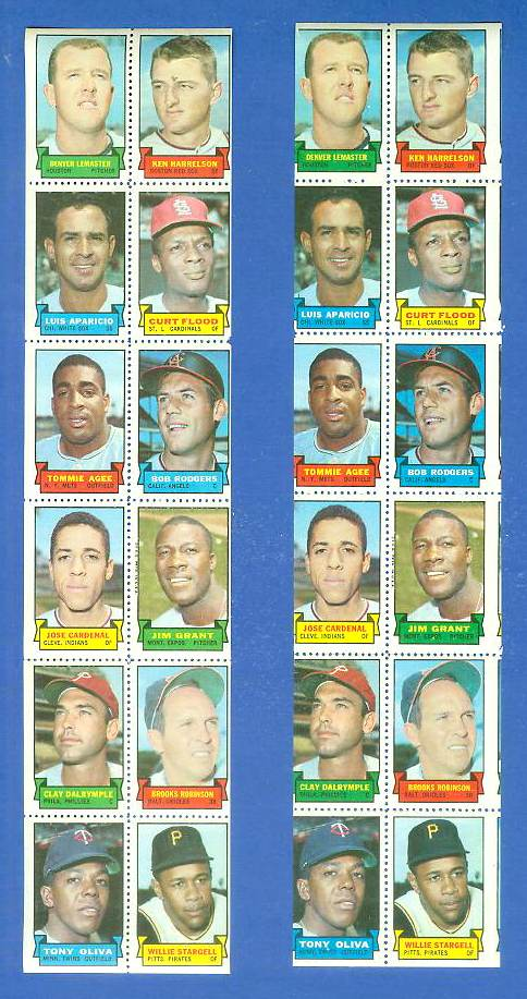 1969 Topps STAMP STRIP [v]- Denver LeMaster,LUIS APARICIO,BROOKS ROBINSON Baseball cards value