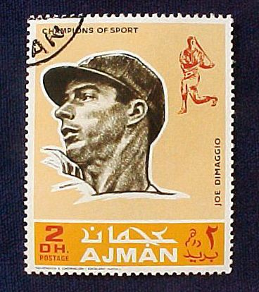 JOE DiMAGGIO - 1969 Ajman Official Postage Stamp (Yankees) Baseball cards value
