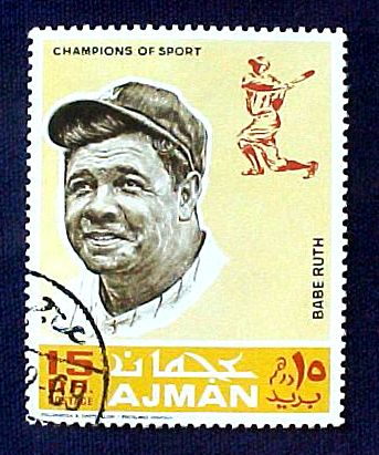 BABE RUTH - 1969 Ajman Official Postage Stamp (Yankees) Baseball cards value