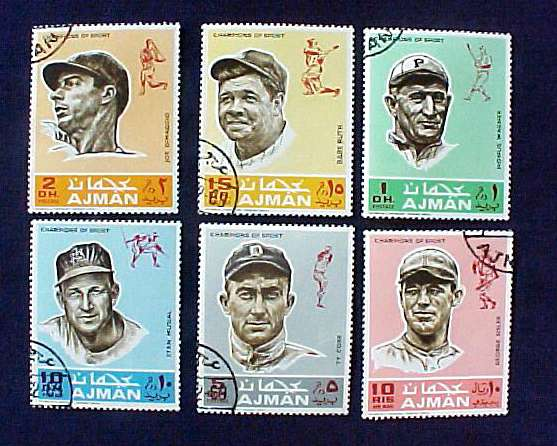 1969 Ajman 'Champions Of Sport' COMPLETE SET - 6 OFFICIAL POSTAGE STAMPS Baseball cards value