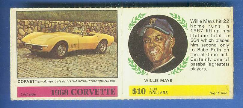 1968 Atlantic Oil - WILLIE MAYS/Camaro [#a] COMPLETE PANEL (Giants) Baseball cards value