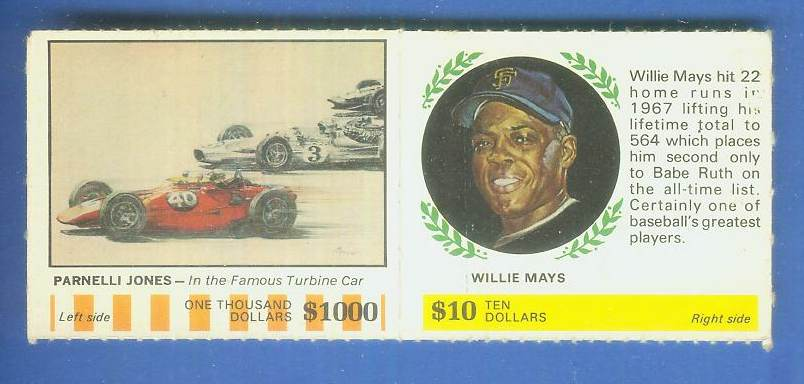 1968 Atlantic Oil - WILLIE MAYS/Parnelli Jones - COMPLETE PANEL (Giants) Baseball cards value